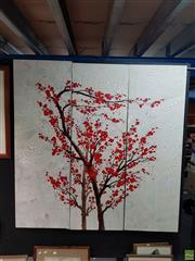 Sale 8609 - Lot 2056 - Artist Unknown - Cherry Tree (triptych) 149.5 x 49.5cm, each panel (overall: 149.5 x 148.5cm)
