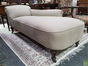 Sale 8634 - Lot 1029 - Late Victorian Walnut Chaise Longue, upholstered in cream linen, raised on turned legs