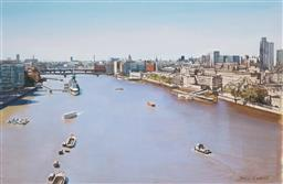 Sale 9116 - Lot 581 - John Earle (1955- ) The Thames, Bridges pen and ink with acrylic (mounted, unframed) 23.5 x 36 cm signed lower right