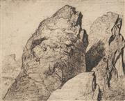 Sale 8881 - Lot 598 - Lloyd Rees (1895 - 1998) - Two Rocks at the Summit of Mount Wellington 21.5 x 24.5 cm