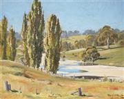 Sale 9067 - Lot 592 - Douglas Pratt (1900-1972) - Cattle Pasture by the River 29 x 36.5 cm (frame: 41 x 48 x 3 cm)