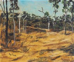 Sale 9133 - Lot 528 - Ray Crooke (1922 - 2015) Landscape, N.W. QLD oil on board 48.5 x 59 cm (frame: 66 x 76 x 3 cm) signed lower left