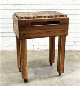 Sale 9112 - Lot 1031 - Timber Butchers Block with removable board on copper castors (h.88cm, w.65cm, d.45cm) -