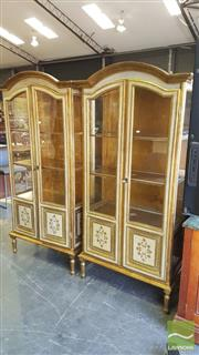 Sale 8402 - Lot 1056 - Pair of Venetian Style Cream and Gilt Display Cabinets with Arched Tops and Two Panel Doors on Fluted Legs