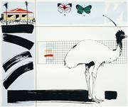 Sale 8522 - Lot 2009 - Graeme Townsend (1954 - ) - Emus Graphic Memory 48.5 x 52cm