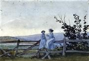 Sale 8655A - Lot 5032 - Emma Minnie Boyd (1858 - 1936) - On the Fence, Mornington c1890 17 x 24.5cm