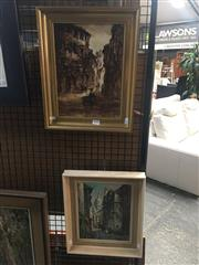 Sale 8707 - Lot 2016 - (2 works) F. Toullec: Paris Street Scene oil on canvas, 35.5 x 30cm, signed lower right, plus Another Street Scene, acrylic on canv..