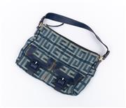 Sale 8800F - Lot 18 - A Givenchy monogram denim and blue leather handbag with twin pockets to front H 24 x W 33cm