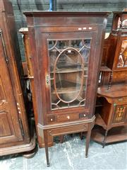 Sale 8848 - Lot 1057 - George III Mahogany Corner Cabinet, with astragal glass door & a drawer, on later stand with tapering legs (Keys in office)