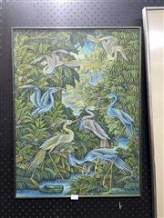 Sale 8895 - Lot 2054 - Artist Unknown (Balinese School) - Cranes in Ubud, Bali, signed lower right -