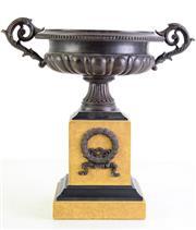 Sale 8972 - Lot 96 - A Patinated Classical Form Twin Handle Bronze Urn on Composite Plinth Base (H 30cm W 29cm)