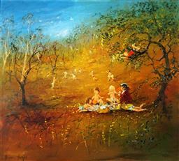 Sale 9047 - Lot 543 - David Boyd (1924 - 2011) - The Picnic 1980 oil on board