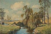 Sale 9067 - Lot 588 - Albert Henry Fullwood (1863-1930) - Sheep By The Yarra River 20 x 30 cm (frame: 31 x 41 x 5 cm)