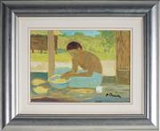 Sale 9080J - Lot 22 - Ray Crooke (1922 - 2015) - Islander with Fruit 21.5 x 29 cm (frame: 40 x 47 x 3 cm)