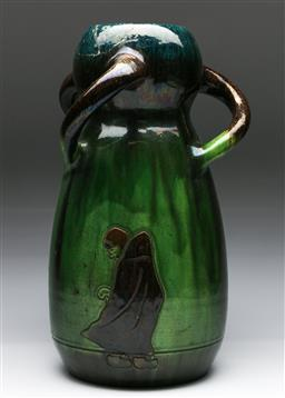 Sale 9153 - Lot 93 - A large art nouveau glazed vase - cracks and repairs to top (H:40cm)