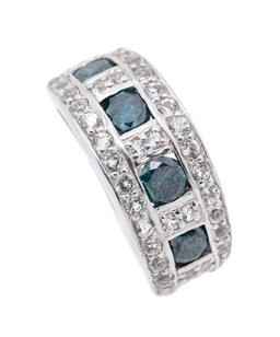 Sale 9246J - Lot 332 - A SILVER HALF HOOP BLUE DIAMOND AND TOPAZ RING; set across the top with 4 round brilliant cut treated blue diamonds totalling approx...