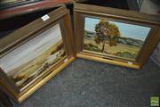 Sale 8425T - Lot 2040 - E W Gaden (2 works) - Landscapes, oil on board, 21 x 29cm, each signed lower