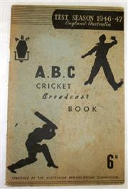 Sale 8460C - Lot 31 - ABC Cricket Broadcast Book Test Season 1946–47 England Australia. 72 pages. Some pages filled in, soiled, possibly signed by E. Tosh...