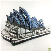 Sale 8589R - Lot 23 - Leadlight Opera House Form Lampshade (W: 49cm)