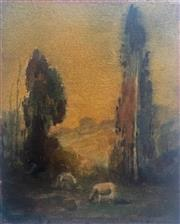 Sale 8655A - Lot 5033 - Jesse Jewhurst Hilder (1881 - 1916) - Landscape with Sheep, c1907 25.5 x 20cm