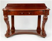 Sale 8651A - Lot 2 - An antique English mahogany hall or console table c. 1875. The low back board above the shaped top and conforming single frieze draw...
