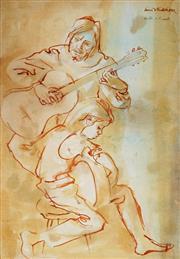 Sale 9001 - Lot 568 - Louis Kahan (1905 - 2002) - Master & Pupil 53 x 36 cm (frame: 72 x 54 x 4 cm)