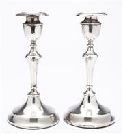 Sale 9085S - Lot 18 - Pair of George V Sterling Silver Candlesticks, hallmarked London 1919, makers Charles Boyton & Son, weighted bases, height 18cm