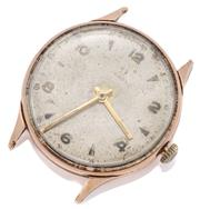 Sale 9074 - Lot 387 - A VINTAGE 9CT GOLD OMEGA MANUAL WRISTWATCH; round dial, lume hands, 17 jewel cal. 283 movement, engraved case, missing center second...