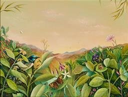 Sale 9125 - Lot 594 - Evelyn Steinmann (1959 - ) - Evening Glow, Tropical Rainforest 33 x 43 cm (frame: 53 x 63 x 7 cm)