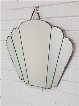 Sale 9154 - Lot 1090 - Art deco bevelled edge mirror (h50 x d60cm)