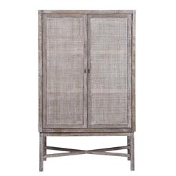 Sale 9250T - Lot 92 - A tall fruitwood wall unit with woven panelled doors in grey wash. Height 166cm x Width 100cm x Depth 40cm