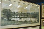 Sale 8425T - Lot 2013 - Artist Unknown (XX) - Pond with Row Boat (triptych) 62.5 x 139cm (frame size: 81 x 155cm)