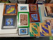 Sale 8548 - Lot 2080 - Collection of Small Framed Aboriginal Style Works