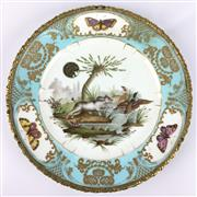 Sale 8607R - Lot 17 - C19th Sevres Handpainted Plate Depicting a Dog Hunting (With British Antique Dealers Association Sticker) (D: 25cm)