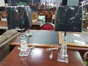 Sale 8601 - Lot 1451 - Pair of Acrylic & Chrome Table Lamps with Graduating Cubes (5969)