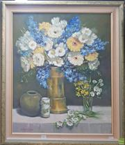 Sale 8595 - Lot 2021 - Elaine Hatchman Yellow, Blue & White, oil on canvas board, 84 x 68cm (frame), signed lower left