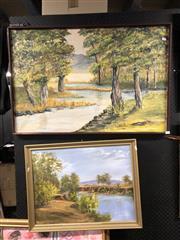 Sale 8797 - Lot 2079 - 2 Artworks: M. Roseblade - Landscape, Oil & H. Martin - Landscape, Oil