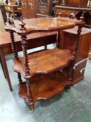 Sale 8848 - Lot 1078 - Victorian Figured Walnut Whatnot, of three serpentine shaped shelves on barley twist supports & turned feet