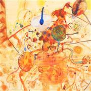 Sale 9009A - Lot 5021 - John Olsen (1928 - ) - The Little Universe of the Sous Chef 76 x 82 cm (frame:111 x 120 x 3 cm)
