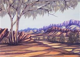 Sale 9080J - Lot 42 - Johannes D. Katakarinja (1956 - 2013) - Central Australian Landscape 25 x 34.5 cm (frame: 55 x 65 x 2 cm)
