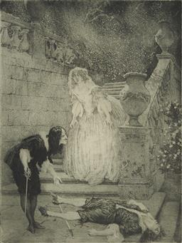 Sale 9096 - Lot 543 - Norman Lindsay (1869 - 1979) - The Last Assignation, 1921 33 x 24.5 cm (frame: 61 x 48 x 3 cm)