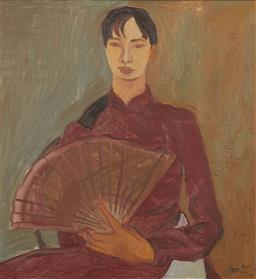 Sale 9118A - Lot 5023 - Lam - Hanoi Girl with Fan, 1995 89 x 84 cm