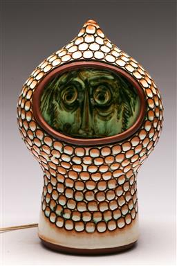 Sale 9131 - Lot 1 - Poole England A12 table lamp, with glazed face to interior  (H:28cm)