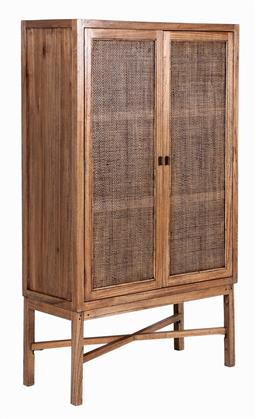 Sale 9250T - Lot 93 - A tall fruitwood wall unit with woven panelled doors in tobacco. Height 165cm x Width 100cm x Depth 40cm