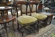 Sale 8345 - Lot 1024 - Set of Eight Victorian Style Mahogany Dining Chairs, with carved top rails, velvet seats & turned legs