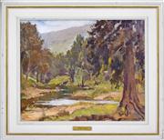 Sale 8374 - Lot 596 - Garret Kingsley (1915 - 1982) - Kangaroo Valley, 1956 49 x 60cm