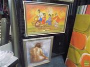 Sale 8483 - Lot 2081 - Artist Unknown, Figure Study, Oil, Plus Thai Painting on Textile, Milling the Grain