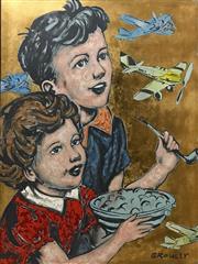 Sale 8609A - Lot 5023 - David Bromley (1960 - ) - Kids Plane Gazing 120 x 90cm