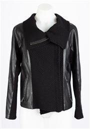 Sale 8640F - Lot 78 - A Thurley black leather and knit jacket, size medium.