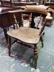 Sale 8634 - Lot 1015 - 19th Century Elm Smokers Elbow Chair, with spindle gallery back, turned legs & stretchers
